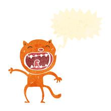 Retro Cartoon Meowing Cat