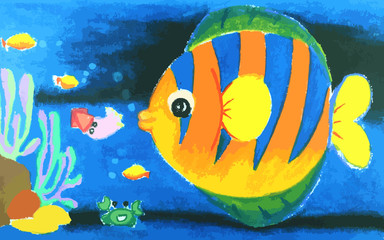 FototapetaColorful fish and beatiful coral in the sea painting