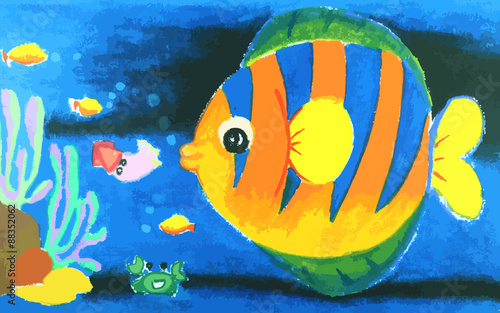 Colorful  fish and beatiful coral in the sea painting - 88352062