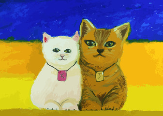 Fototapetacute cat painting on colorful background