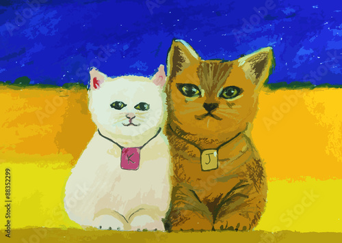 cute cat painting on colorful background - 88352299