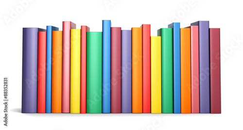 Fotografija  Color books in line isolated on a white background