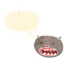 Retro Cartoon Cat Meowing