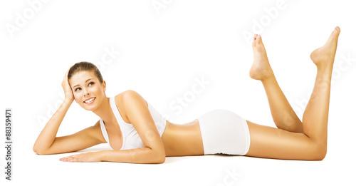 Woman Body Beauty, Girl White Cotton Underwear, Model Lying Stomach