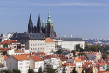 Castle District Hradcany With St. Vitus Cathedral And Royal Palace Seen From Petrin Hill, Prague, Bohemia, Czech Republic