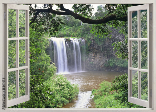 Door stickers Olive Dangar Falls view in open window