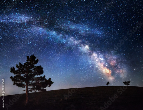 Photo  Milky Way. Beautiful summer night sky with stars in Crimea