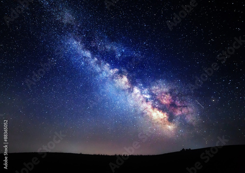 Photo Stands Night Milky Way. Beautiful summer night sky with stars in Crimea