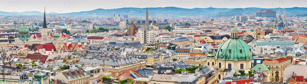 Fényképezés Aerial view of city center of Vienna