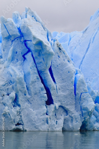 Lake-level view of blue ice at the glacier face, Grey Glacier, Torres del Paine National Park, Patagonia, Chile, South America