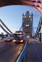 Red Bus On Tower Bridge, London