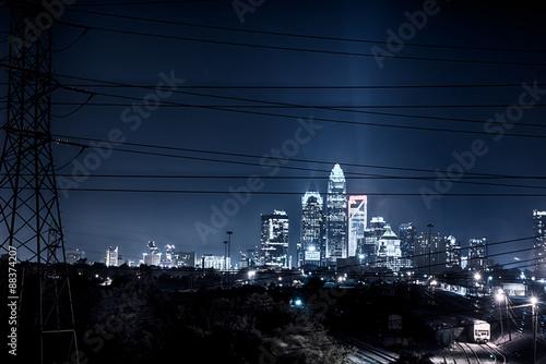 charlotte north carolina skyline at night Canvas Print