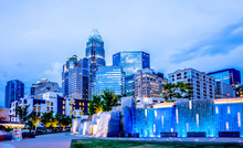 Charlotte North Carolina City Skyline In Downtown