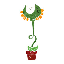 Retro Cartoon Man Carnivorous Plant