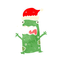 Retro Cartoon Christmas Frog