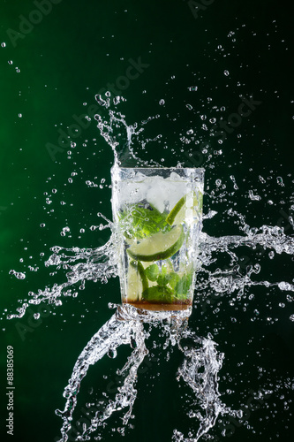 Mojito drink with splash Canvas Print