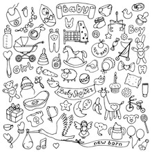 Baby Hand Drawn Doodle Set