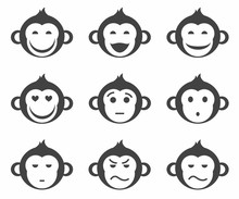 Monkeys, Smiley, Small, Icon, Monochrome.