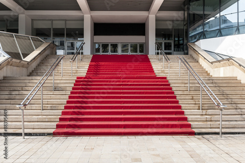Red carpet over stairs Wallpaper Mural
