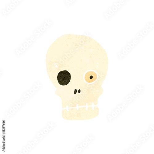 Printed kitchen splashbacks Watercolor skull retro cartoon funny skull symbol