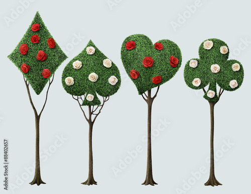 Set of four bizarre trees with card suits and roses Wallpaper Mural