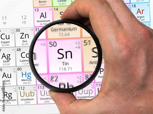 Tin Symbol Sn Element Of The Periodic Table Zoomed With Magni