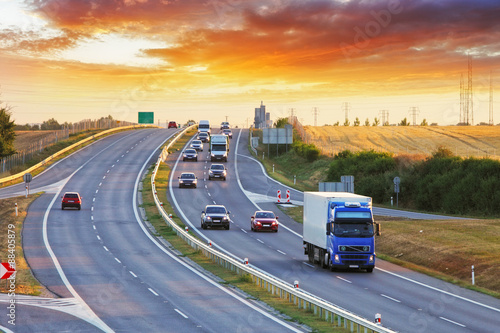 Obraz na plátne Highway transportation with cars and Truck