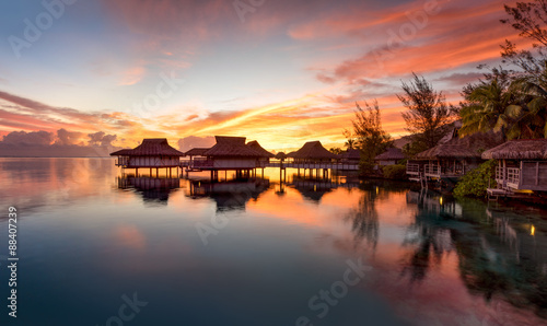 Poster Océanie Sonnenuntergang auf Bora Bora