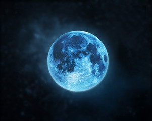 Blue full moon atmosphere at dark night sky background, Elements of this image furnished by NASA