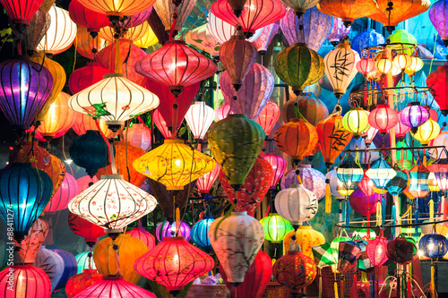 Fotografie, Obraz  Traditional lanterns shop at night, Hoi An old town, UNESCO World Heritage Site, Vietnam