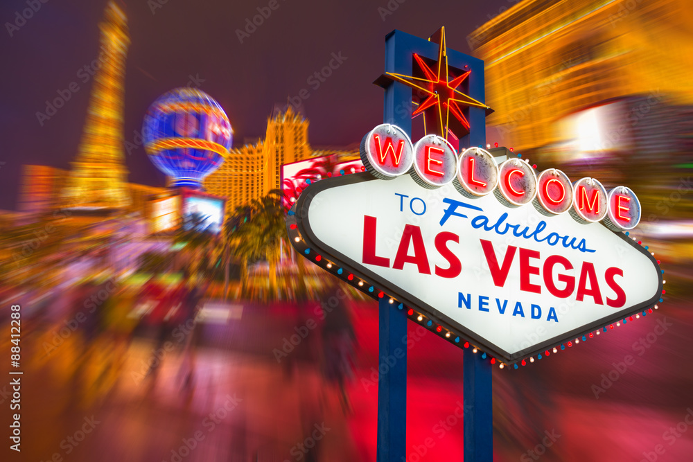 Fotografie, Obraz  Welcome to fabulous Las vegas Nevada sign with blur strip road b