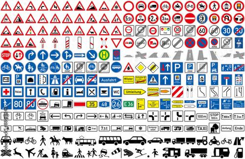 Fotografía  Verkehrszeichen StVO Auto Transport Fahrzeug Strasse icon Achtung Warnung PKW LK
