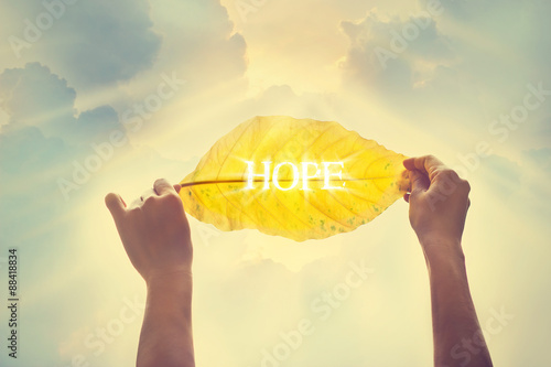 Photo  Vintage color tone, holding a yellow leaf in the sky of hope