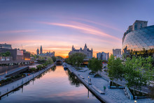 View Of Parliament Buildings From Plaza Bridge Ottawa During Sunset