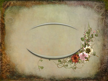Oval Frame And Floral Bouquet ...