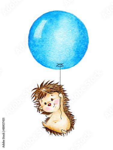 Jeż leci na niebieski balon