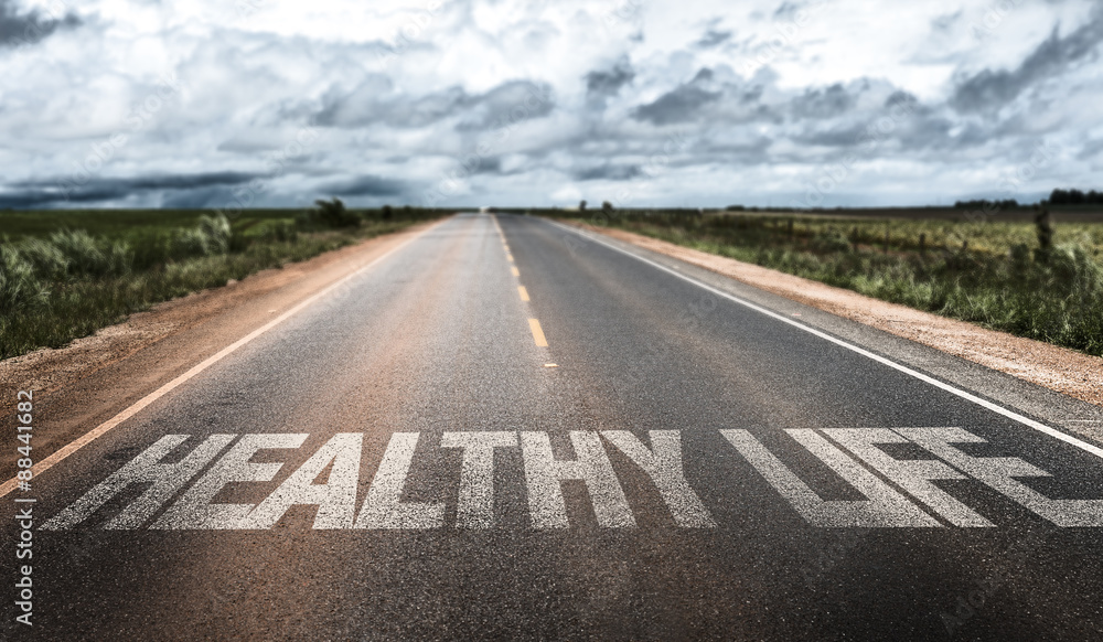 Fototapety, obrazy: Healthy Life written on rural road