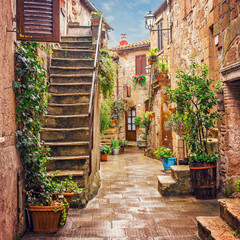 Fototapeta Schody Alley in old town Pitigliano Tuscany Italy