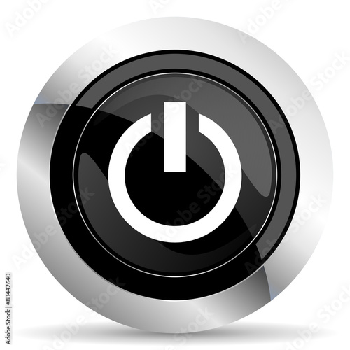 power icon, black chrome button, on off sign - Buy this