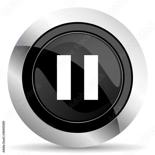 Fotografia, Obraz  pause icon, black chrome button