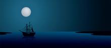 Ship Under The Moonlight. Nigh...