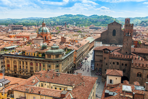 BOLOGNA, ITALY, on MAY 2, 2015. The top view on the old city Canvas Print