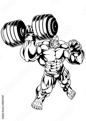 Super Muscular Bodybuilder Workoutllustrationinkblack And White