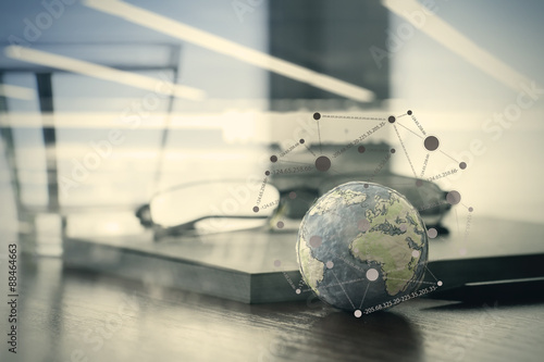 Fotografie, Obraz  hand drawn texture globe with social media diagram on wood table