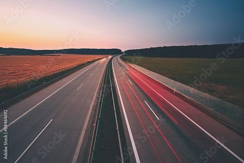 Keuken foto achterwand Nacht snelweg Highway at the sunrise