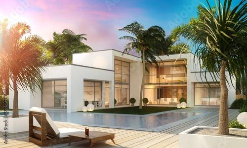 Fotografie, Obraz  L Haus mit Pool