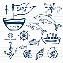 Sea Life Hand Drawn Doodle Set. Nautical Sketch Collection With Ship, Dolphin, Shells, Fish Anchors And Helm . Vector Illustration. Can Use For Object Printing