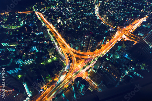 Photo  Tokyo highway junction from above