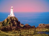 White lighthouse on Jersey Island. Image is toned - 88475810