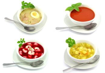 Panel Szklany Do gastronomi zestaw różnych zup